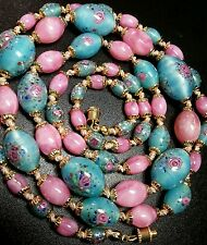 VINTAGE VENETIAN / CZECH TURQUOISE PINK SATIN WEDDING CAKE GLASS BEAD NECKLACE