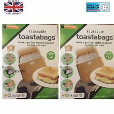 4 Reusable Toast Bags Toaster Sandwich Pockets Toaster Toasty Toastabags  new