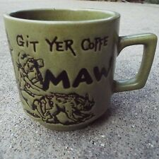 Hillbilly MA Mom Maw Git Yer Coffe Coffee Tea Cup Mug 9 ozs Outhouse Pig Kid Vtg