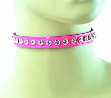 Hot Pink Crystal Rhinestone Collar Puink Gothic Ssassy Sexy Choker