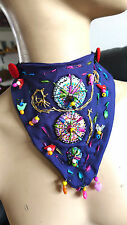 HANDMADE NECKLACE FIBER ART HEART SHAPE AND BEADS painted glass  and embroidery