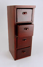 Dollhouse Miniature 4 Drawer Wood Office File Cabinet, Mahogany, T3561A