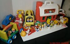 Large Lot Fisher Price Little People Barn Firetruck Bus Little Tykes Horse Fence