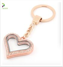 30mm Alloy Rose Gold Rhinestones Heart Floating Charm Memory Locket Key Chain
