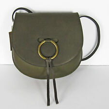 NWT J Crew Madewell Lisbon O-Ring Saddlebag Purse in Leather Green $178 F6851