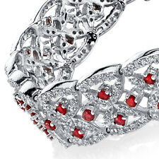 925 Sterling Silver Ruby CZ Tennis Bracelet Cubic Zirconia Formal Lace Vintage