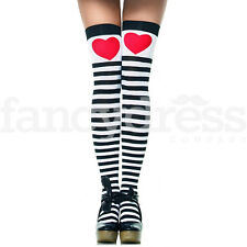 Alice Stockings Red Heart Striped Black White Tea Party Fairytale Fancy Dress