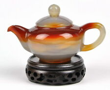 "5"" Hand Carved Red Agate / Carnelian Teapot / Tea Pot Carving"