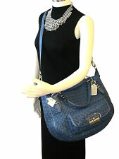 NWT Coach 19747 Kristin Pinnacle Woven Leather Large Round Satchel Denim $1200