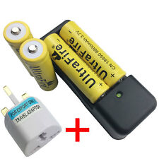 4 x 18650 9800mAh 3.7V Li-ion Rechargeable Battery With 4.2V Charger+UK Adaptor