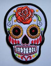 COLORFUL SUGAR SKULL DESIGN TATTOO White Embroidered Iron on Patch Free Postage