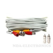 10 ft Siamese BNC RCA Video Power Cable for CCTV Security Camera System White