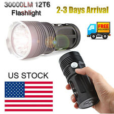 30000LM 12x CREE XM-L T6 LED Zoom Flashlight Torch 4x18650 Hunting Light Lamp