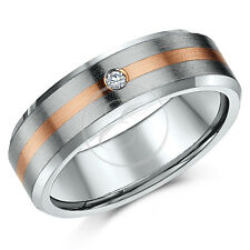 Titanium & 9ct Rose Gold Diamond Set Engagement Wedding Ring Band 7mm