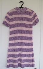 Vtg 1960s Sweater Dress Minidress Orlon Open Knit Pink Purple Mod Go Go Cool!