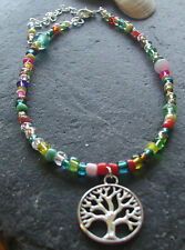 Brightly Coloured Glass Beads Tree of Life Charm Anklet Hippy Festival Boho