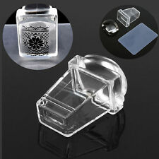 Nail Art Transparent Stamper with Cap Square Clear Jelly Silicone Stamping Plate
