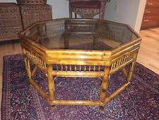 Vtg Chinese Chippendale Chinoiserie Brighton Tiger Bamboo Rattan Coffee Table