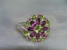 Estate 925 Thailand Marked Silver w Large Purple & Green Rhinestone Flower Ring