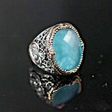 TURKISH HANDMADE AQUA MARINE STERLING SILVER 925K MEN'S RING SIZE 10.5