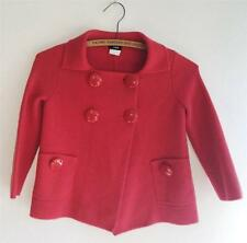 J Crew 100% Wool Red Big Button Front Double Breasted Kids Coat Sweater XS