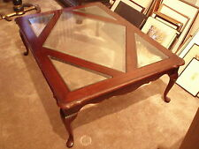 Vintage Queen Anne Style Cherry And Glass Top Coffee Table