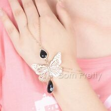 1Pc Alloy butterfly Gems Hand Chain Link Finger Ring Tassel Hand Harness