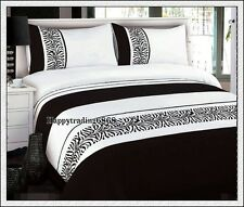 280TC Black White Zebra Embroidery Pintuck Panel 3pc KING QUILT DOONA COVER SET