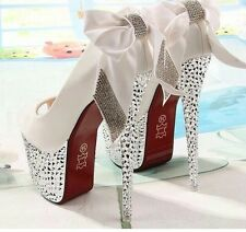 BRAND NEW WHITE SPARKLY PLATFORM WHITE STILETTO BOW RED BOTTOM WEDDING HEELS 7