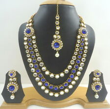 BLUE CZ PEARL KUNDAN GOLD TONE INDIAN TRADITIONAL RANI HAAR NECKLACE SET JEWELRY