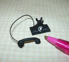 Miniature FALCON Black Dial Rotary Dial Phone Loose Receiver: DOLLHOUSE 1/12