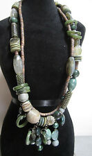 Roxsann Designer Necklace Glass Stone Green beads Wrapped beads two layer Gems