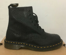 DR. MARTENS 1460  BLACK HI SHINE SNAKE   LEATHER  BOOTS SIZE UK 5
