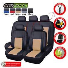 CAR PASS11pcs Breathable PU leather Universal fit car seat covers beige color