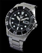 NEW MEN'S SEIKO 5 SPORTS BLACK DIAL SUBMARINER AUTOMATIC WATCH SNZF17K1
