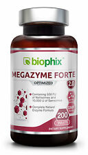 BioPhix Megazyme Forte Plus 200 Tablets Improved Formula Proteolytic Enzymes