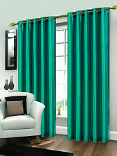 Luxury Faux Silk Eyelet Ring Top Lined Ready Made Pair Of Curtains With Tie Back