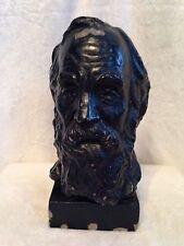 """Antique Bust Old Man Sigmund Freud Black - Artist Signed Nathainal Kog - 11.5"""""""