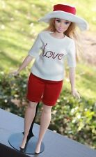 "Clothes for Curvy Barbie Doll. T-shirt ""Love"", Shorts and Hat for Dolls."