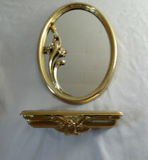 Home Interiors Gold Oval Resin'' MIRROR & SHELF w/ Flowers on'' Gorgeous 2pc Set