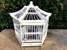 Antique Wood & Wire BIRD CAGE Birdcage Birdhouse House Decor Vtg Shabby Asian