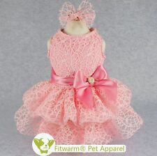 "Fitwarm 14""Chest Pink Fairy Wedding Dog Dress Small Pet Clothes Bridal Skirt Bow"
