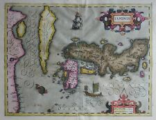 Original 1628 Mercator Hondius Map KOREA AS AN ISLAND JAPAN CHINA Sea Monster