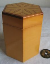 "Chinese Bamboo Box Vintage Octagonal Patterned Lid Hand-Made in China 4"" Tall"