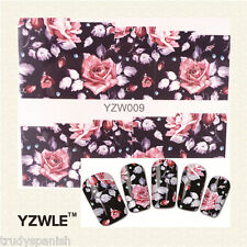 Nail Art Water Decals Wraps Pretty Black Dusty Pink Flowers Gel Polish (YZW09)
