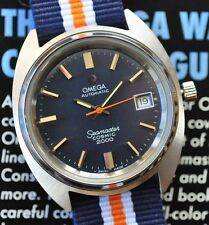 Immaculate Omega Seamaster Cosmic 2000 Watch Automatic Attractive BLUE Dial Runs