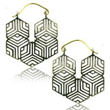"PAIR TRIBAL 1"" 9/16 INCH BRASS PLUGS EARRINGS GAUGES HOOPS GEOMETRIC HANGERS"