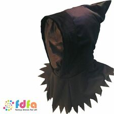 BLACK GHOUL HOOD & SEE THROUGH MASK HALLOWEEN mens ladies fancy dress accessory