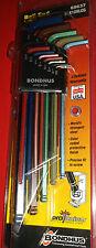 Bondhus BLX13XLCG 13 Pc Imperial XL Ball End Hex Allen Key Set 69637 ColorGuard