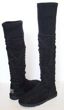 UGG AUSTRALIA Over the Knee TWISTED CABLE KNIT Boots WOMENS 7 BLACK Tall Classic